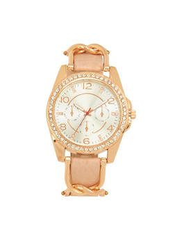 Rhinestone Bezel Chain Strap Watch - 1140071434842
