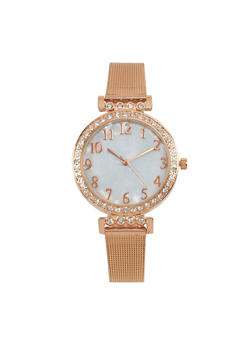 Rhinestone Bezel Metal Mesh Strap Watch - ROSE - 1140071435050