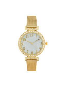 Rhinestone Bezel Metal Mesh Strap Watch - GOLD - 1140071435050