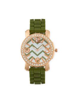 Rubber Watch with Rhinestone Bezel - 1140071435262