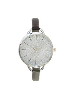 Glitter Watch with Thin Leather Band - 1140071435482