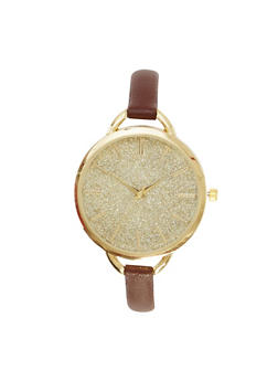 Glitter Watch with Thin Leather Band - BROWN - 1140071435482