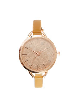 Glitter Watch with Thin Leather Band - TAN - 1140071435482