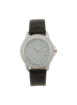 Glitter Face Watch with Patent Leather Strap and Faux Diamonds - 1140071435630