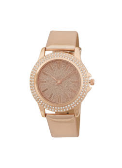 Glitter Face Watch with Patent Leather Strap and Faux Diamonds - ROSE - 1140071435630