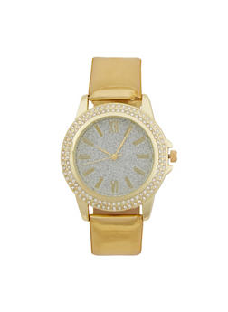 Glitter Face Watch with Patent Leather Strap and Faux Diamonds - GOLD - 1140071435630