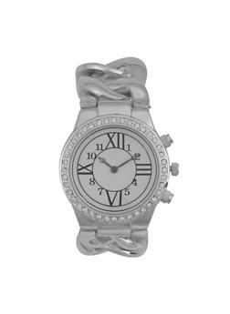 Chain Strap Rhinestone Bezel Watch - 1140071435804