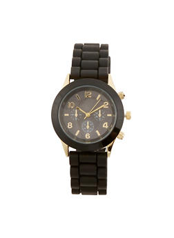 Metallic Face Rubber Strap Watch - BLACK - 1140071435822