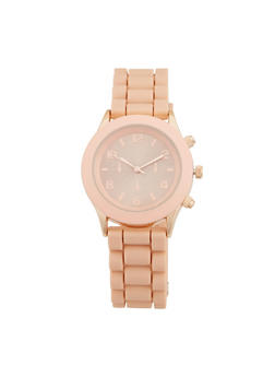Metallic Face Rubber Strap Watch - BLUSH - 1140071435822
