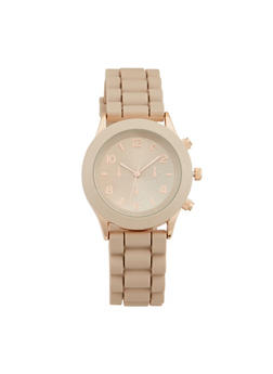 Metallic Face Rubber Strap Watch - TAUPE - 1140071435822