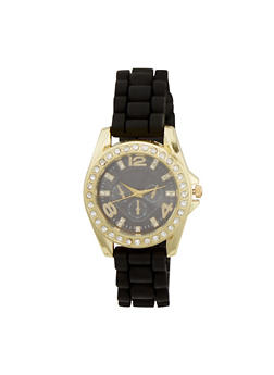 Rubber Strap Watch with Crystal Bezel - BLACK - 1140071435856