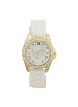 Rubber Strap Watch with Crystal Bezel - WHITE - 1140071435856