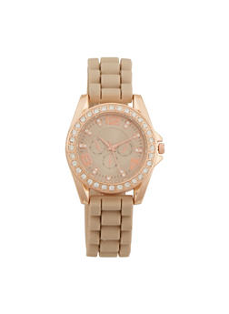 Rubber Strap Watch with Crystal Bezel - TAUPE - 1140071435856