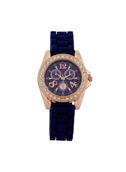 Rhinestone Bezel Watch - 1140071435879