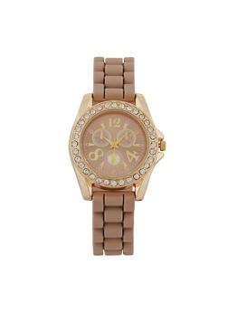 Rhinestone Bezel Watch - 1140071435879