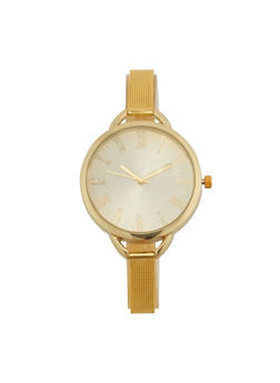 Skinny Metal Mesh Strap Watch - 1140071436078