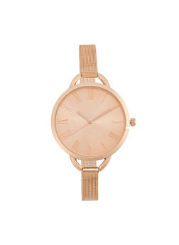 Skinny Mesh Watch with Oversized Face - ROSE - 1140071436845