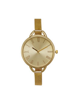 Skinny Mesh Watch with Oversized Face - GOLD - 1140071436845