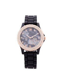 Rhinestone Bezel Faux Marbled Rubber Strap Watch - 1140071437190
