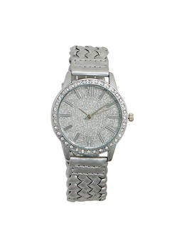 Metallic Watch with Braided Strap and Glitter Face - SILVER - 1140071438001