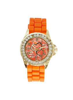 Diamond Bezel Watch with Hearts - CORAL - 1140071438056