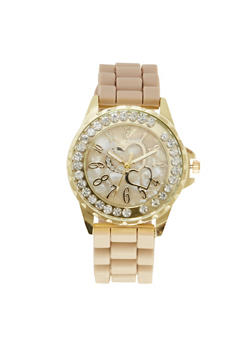 Diamond Bezel Watch with Hearts - TAUPE - 1140071438056