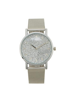 Metallic Watch with Glitter Face and Mesh Strap - 1140071438117
