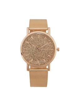 Metallic Watch with Glitter Face and Mesh Strap - ROSE - 1140071438117
