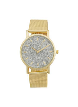 Metallic Watch with Glitter Face and Mesh Strap - GOLD - 1140071438117
