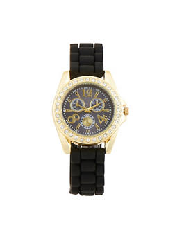 Rhinestone Paved Bezel Watch with Rubber Strap - 1140071438589