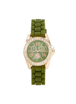 Rhinestone Rubber Strap Watch - 1140071438882