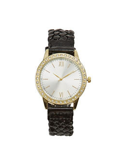 Woven Watch with Rhinestones - BLACK - 1140071439410