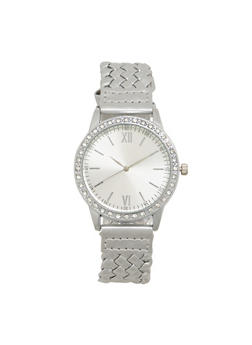 Woven Watch with Rhinestones - SILVER - 1140071439410