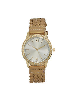 Woven Watch with Rhinestones - GOLD - 1140071439410