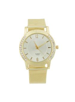 Half Rhinestone Bezel Watch with Metal Mesh Band - 1140072692273