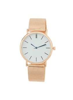Classic Watch with Metal Mesh Band - 1140072692275