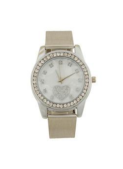 Rhinestone Bezel Heart Watch with Metal Mesh Band - 1140072692278