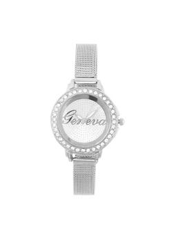 Rhinestone Bezel Watch with Skinny Metal Mesh Strap - 1140072692282