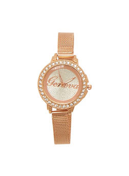 Rhinestone Bezel Watch with Skinny Metal Mesh Strap - 1140072692282