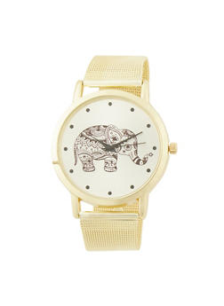 Elephant Watch with Metal Mesh Band - 1140072692283