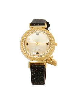 Polka Dot Strap Heart Watch - 1140072692396