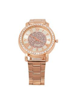 Glitter Face Rhinestone Bezel Watch - 1140072692417
