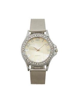 Metallic Mesh Rhinestone Watch - 1140072696722