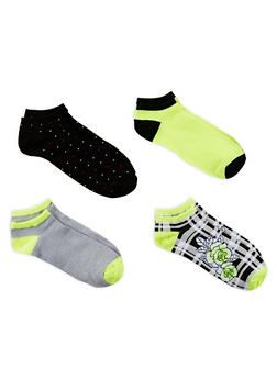 Set of 4 Assorted Ankle Socks - LIME - 1143041451018