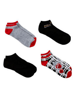 Set of 4 Assorted Ankle Socks - RED - 1143041451018