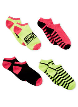 4 Pair of Assorted Colorblock Ankle Socks - LIME - 1143041451117