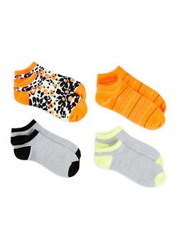Set of 4 Printed Ankle Socks - ORANGE - 1143041451818