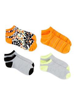 Set of 4 Printed Ankle Socks - ORANGE - 1143041451819