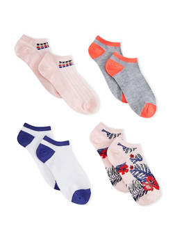 Plus Size 4 Pack Ankle Socks - PINK - 1143041451918