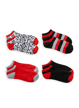 Pack of 4 Assorted Ankle Socks - RED - 1143041452218